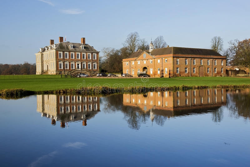 Stanford Hall reflected in The River Avon. Leicestershire Northamptonshire boarder, England royalty free stock images