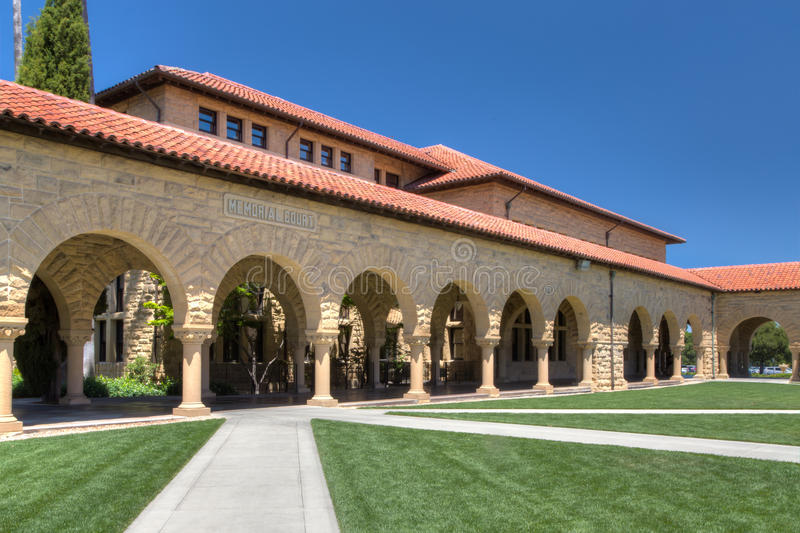 Stanford Memorial Court. STANFORD, UNITED STATES - July 6: Memorial Court at historic Stanford University. The university features original sandstone walls with stock image