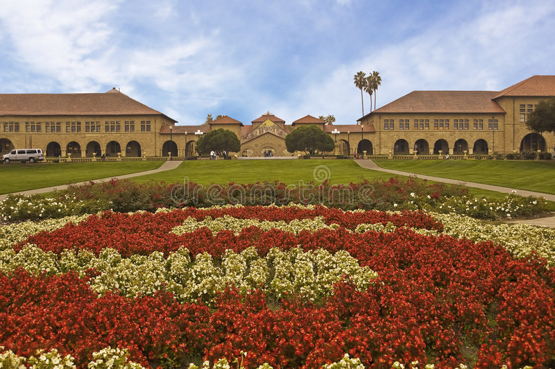 Stanford Quadrangle from the Rose S. This is the classic entrance to the Stanford Quadrangle with the Rose S leading to the Stanford Chapel through the arch royalty free stock photo
