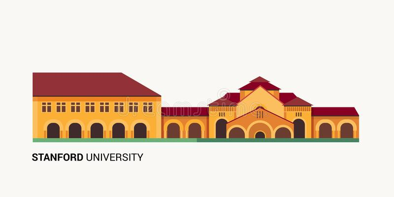 Stanford University. Vector Flat Colorful Illustration vector illustration