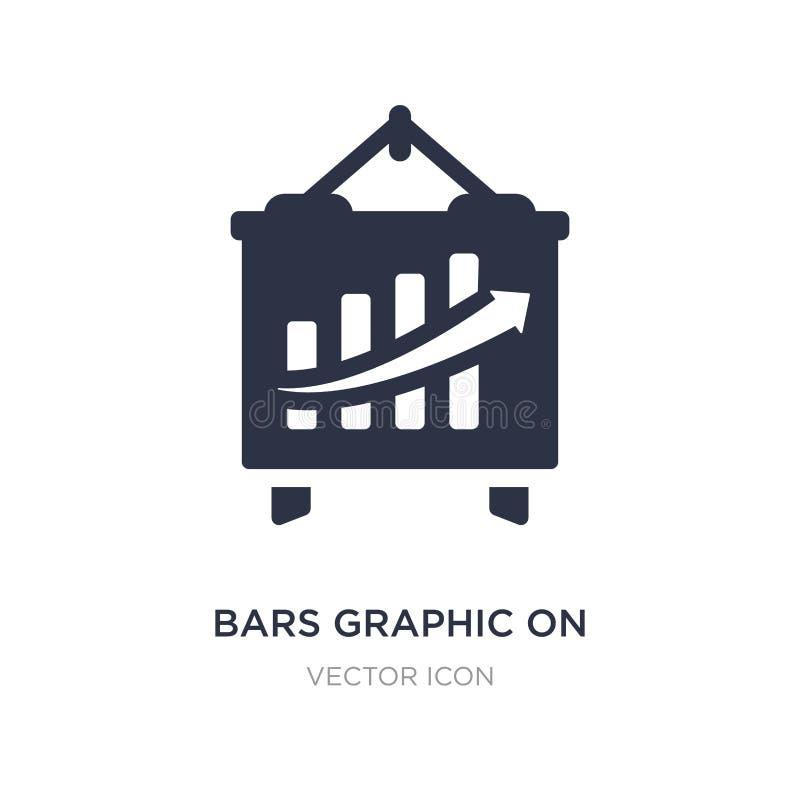 Stangen grafisch auf Schirmikone auf weißem Hintergrund Einfache Elementillustration vom Geschäfts- und Analyticskonzept lizenzfreie abbildung
