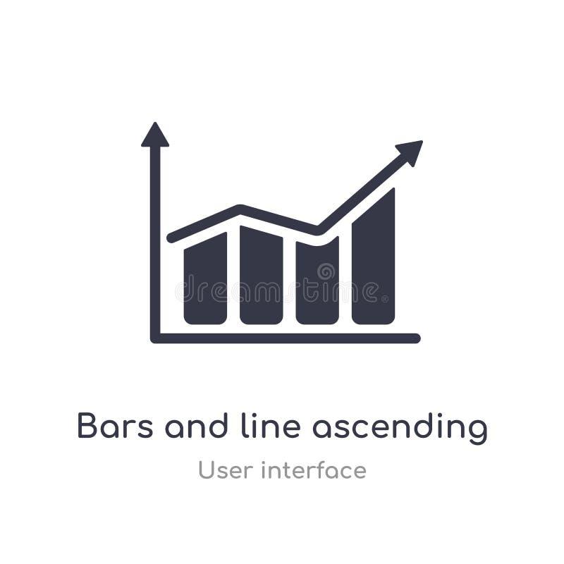 Stangen und Linie Aufsteigen der Daten Analytics-Entwurfsikone lokalisierte Linie Vektorillustration von der Benutzerschnittstell vektor abbildung
