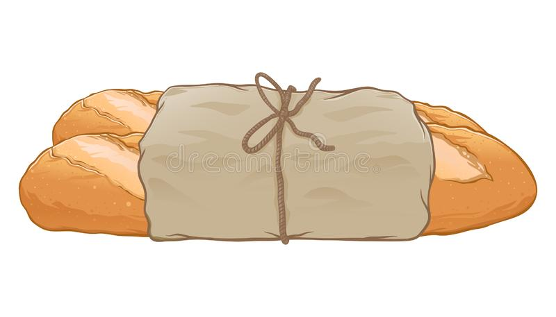 Stangenbrot-Brot eingewickelt im Papier stock abbildung