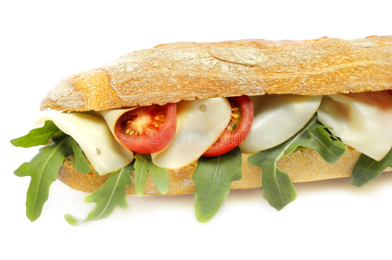 Stangenbrot mit Käse und Tomaten stockfotografie