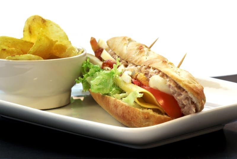 Stangenbrotsandwich des Thunfischs, des Käses, des Eies und der Tomate lizenzfreie stockfotos