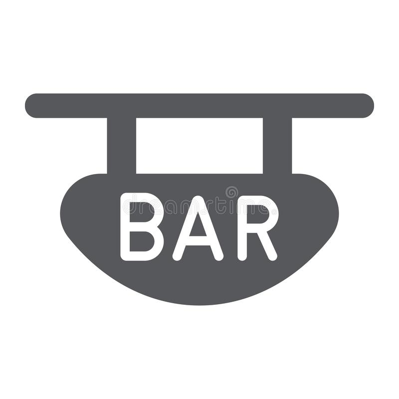 Stangenschild Glyphikone, Fahne und Dekoration, hölzernes Plankenzeichen, Vektorgrafik, ein festes Muster auf einem weißen lizenzfreie abbildung
