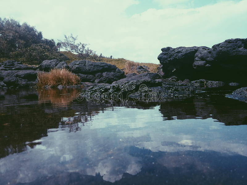 stangnerande vatten vid havet royaltyfria foton