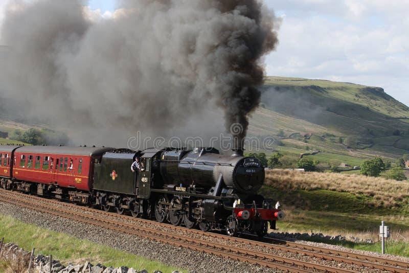 Stanier 8F at Ais Gill. Steam locomotive hauling Fellsman excursion on Settle to Carlisle raiway line stock photo