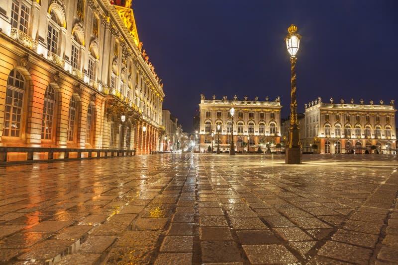 Stanislas Square bij regenachtige avond, Nancy stock afbeeldingen