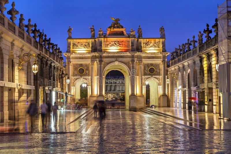 Stanislas Square i aftonen, Nancy, Frankrike royaltyfria bilder