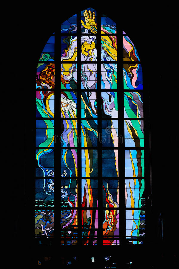 Stanislaw Wyspianski`s stained-glass window stock photo