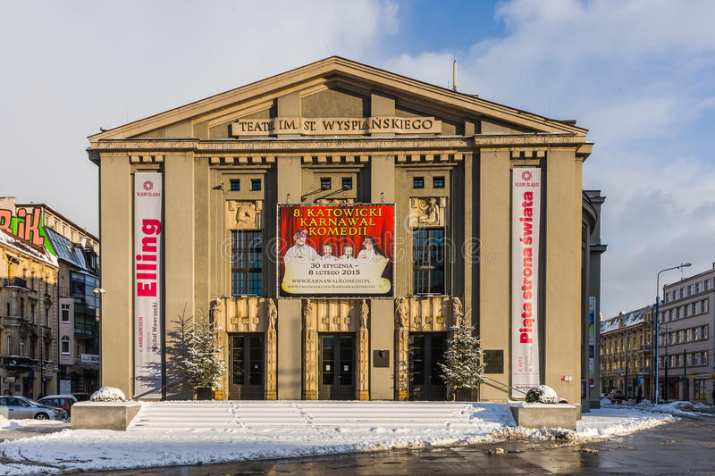 Stanislaw Wyspianski Silesian Theater. The largest scene in Silesia on February 07, 2015 in Katowice, Poland. Built as 'German Theatre' in the years of 1905 royalty free stock photos