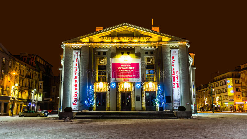 Stanislaw Wyspianski Silesian Theatre. The largest scene in Silesia, on January 04, 2015 in Katowice, Poland. Built as 'German Theatre' in the years of 1905 stock photo