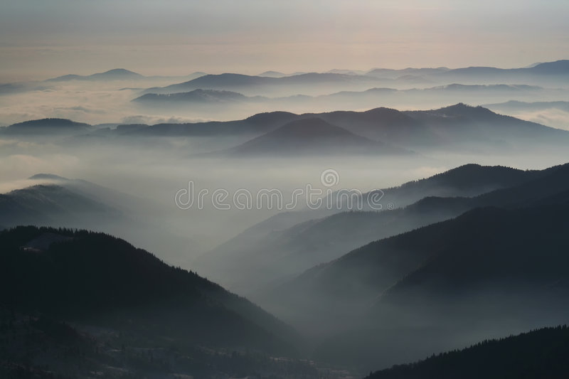 Stanisoara mountains and clouds stock photos