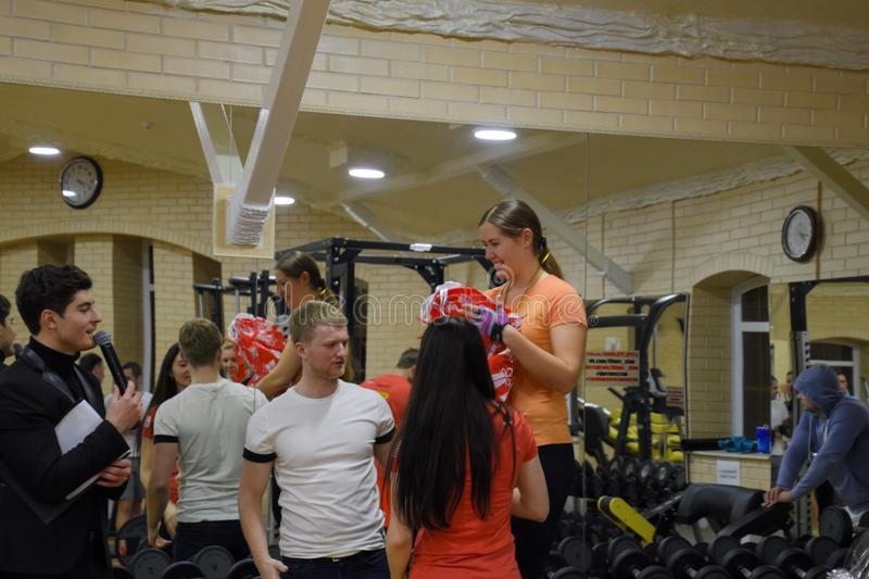 Rewarding of participants in cross-fights. Fitness Hall Stan. Cross-match competitions dedicated to the birthday of the stock photography