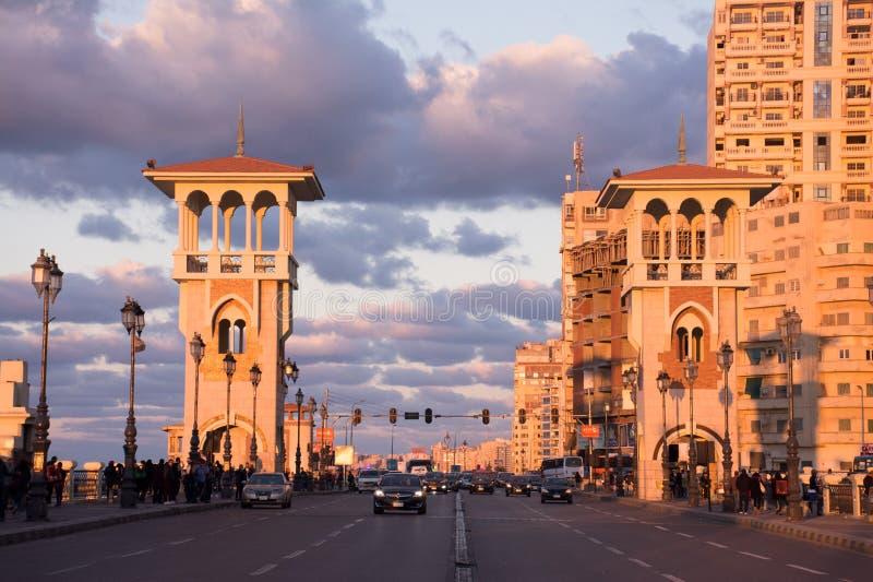 Stanley Bridge, Alexandria Egypt fotografía de archivo