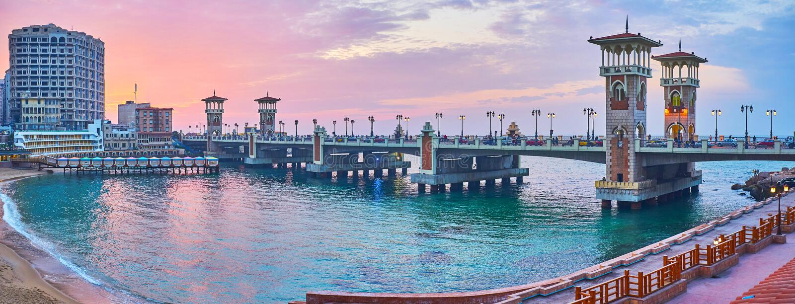 Panorama of Stanley bridge, Alexandria, Egypt. The Stanley bridge is the main landmark of the same named neighborhood, famous for its scenic sand beach royalty free stock images