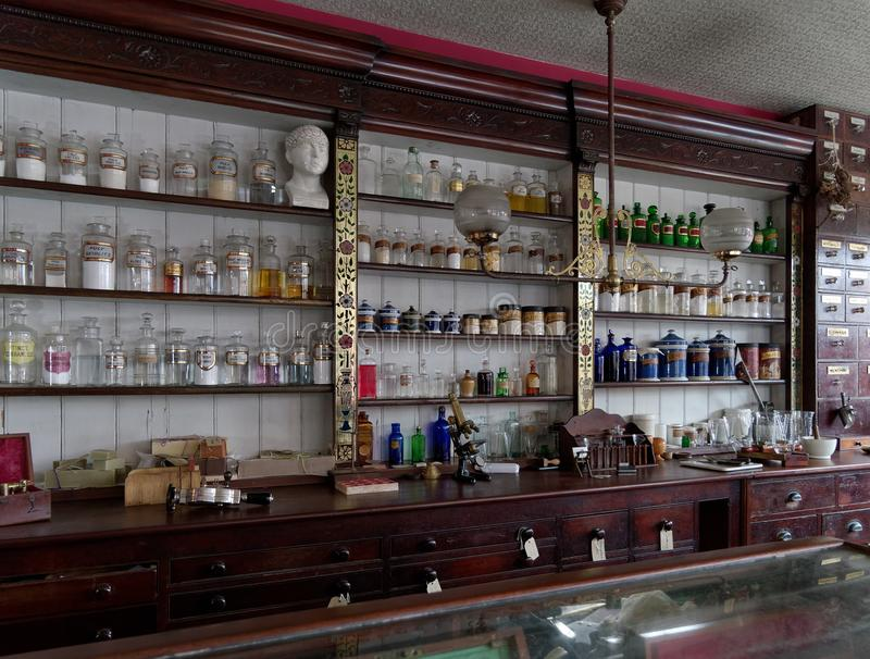 STANLEY, COUNTY DURHAM/UK - JANUARY 20 : Inside of an old apothecary at the North of England Open Air Museum in Stanley, County D stock photo