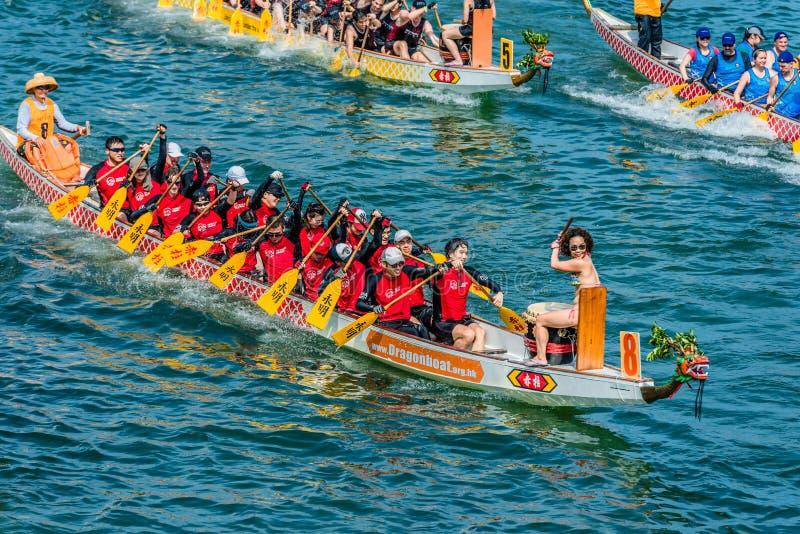 Stanley för lopp för festival för drakefartyg strand Hong Kong arkivfoton