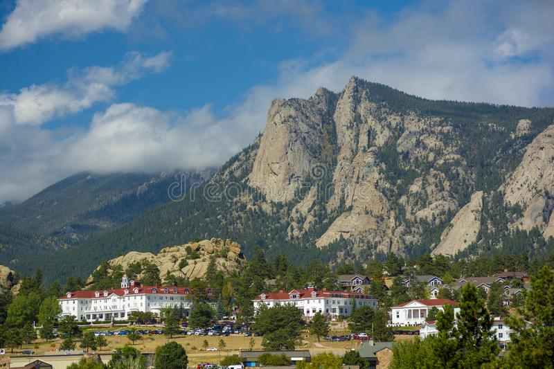 The Stanley Hotel in Estes Park, Colorado on a sunny day.  royalty free stock images