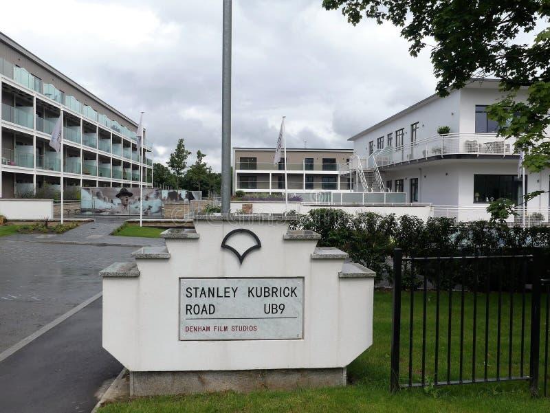 Stanley Kubrick Drogowy znak przy Denham studiami filmowymi, Buckinghamshire zdjęcia royalty free