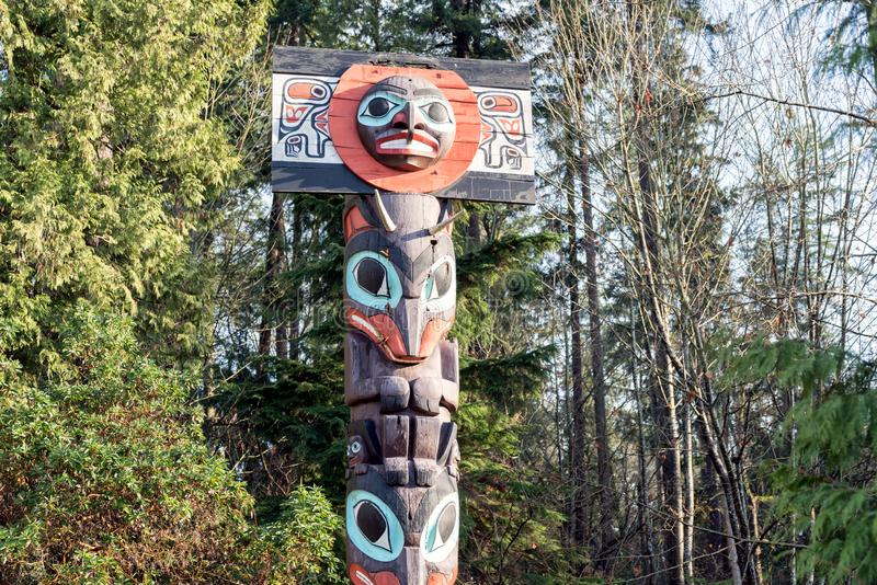 Stanley Park First Nations Totem postes en Vancouver, Canadá fotos de archivo libres de regalías