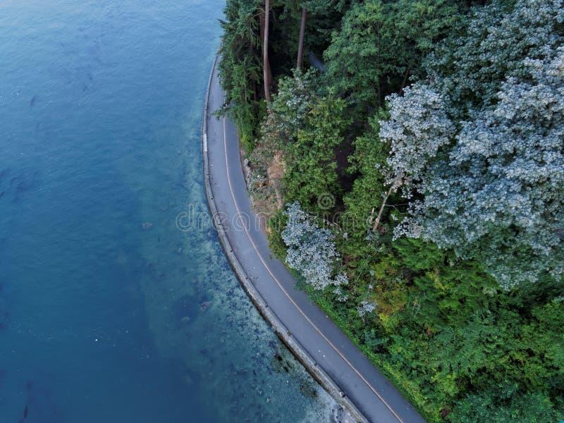 Stanley Park Seawall con el océano azul, Vancouver fotografía de archivo