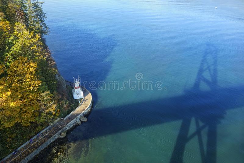 Stanley Park Seawall Lions Gate broStilla havet Vancouver F. KR. Kanada royaltyfri fotografi