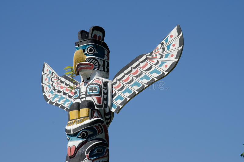 Stanley Park Totem Pole, Stanley Park, Vancouver, Kanada lizenzfreies stockfoto