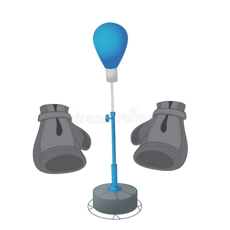Stansmaskinpåse och handskar som isoleras på en vit bakgrund Utrustning för att boxas Övningstakter också vektor för coreldrawill royaltyfri illustrationer