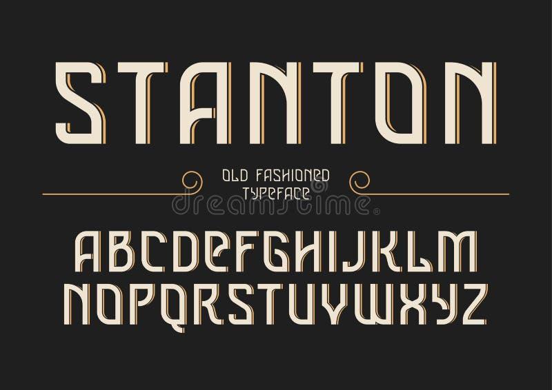 Stanton decoratieve vector uitstekende retro lettersoort, doopvont, alfabet stock illustratie