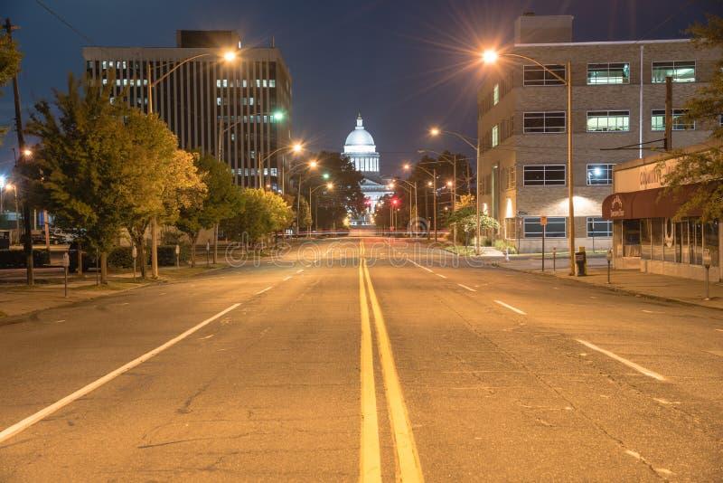 Stanu Capitol Arkansas nigh przegląda fotografia royalty free