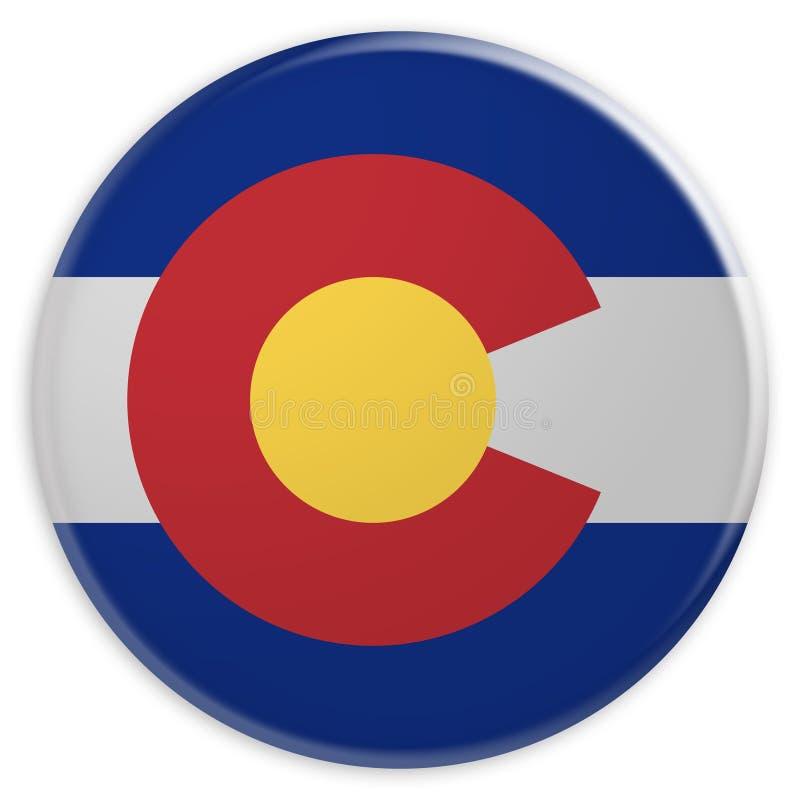 stanu USA guzik: Kolorado Zaznacza odznaki 3d ilustrację na białym tle ilustracja wektor
