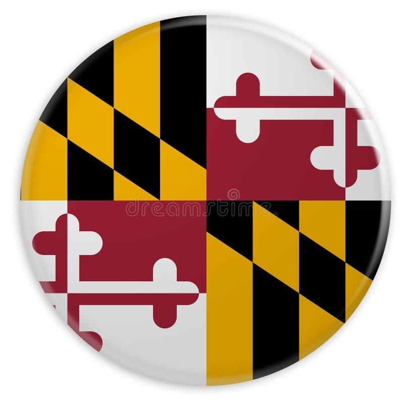 stanu USA guzik: Maryland Zaznacza odznaki 3d ilustrację na białym tle ilustracji