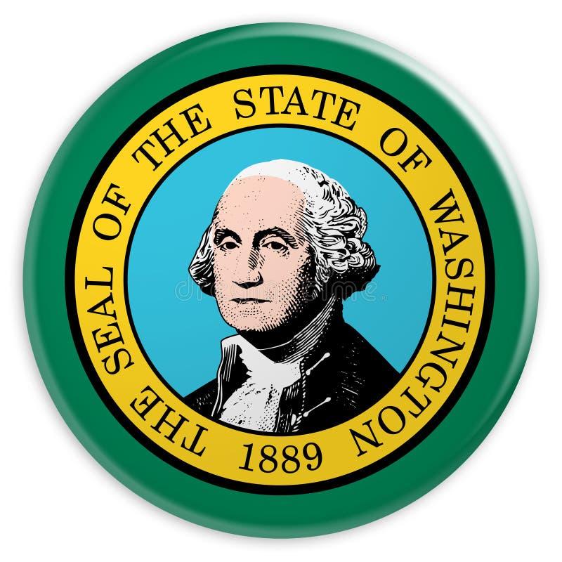 stanu USA guzik: Waszyngton Zaznacza odznaki 3d ilustrację na białym tle ilustracja wektor
