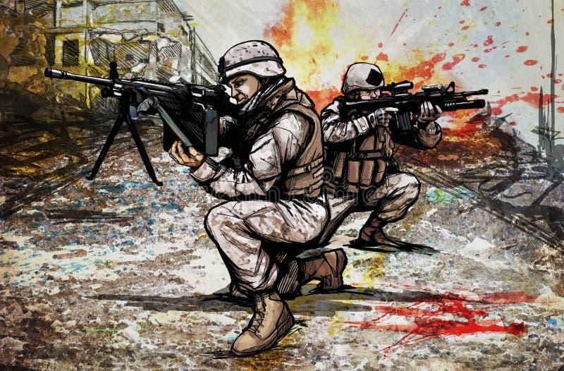 Stany Zjednoczone żołnierze piechoty morskiej ilustracji
