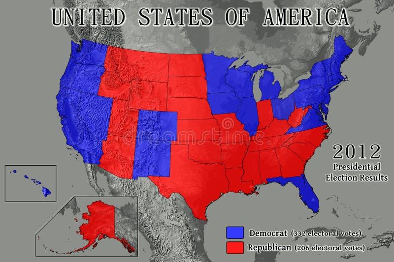 Stany Zjednoczone 2012 wynika wyborów ilustracja wektor