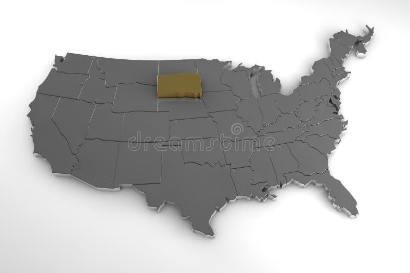 Stany Zjednoczone Ameryka, 3d kruszcowa mapa, whith Dakota południowy stan podkreślający royalty ilustracja