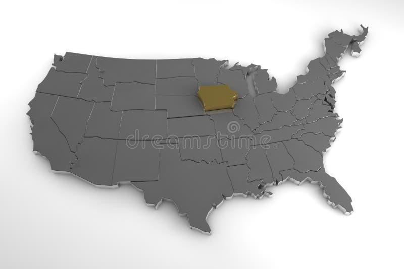 Stany Zjednoczone Ameryka, 3d kruszcowa mapa z Iowa stanem podkreślającym, royalty ilustracja