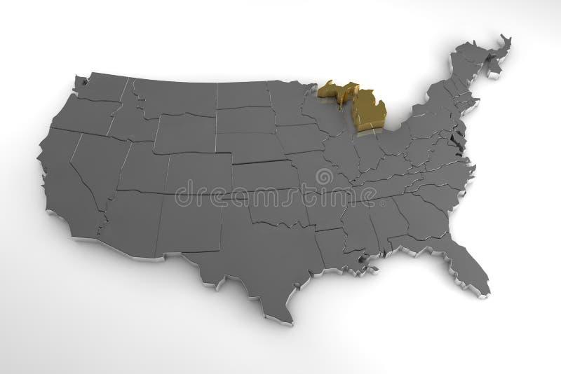 Stany Zjednoczone Ameryka, 3d kruszcowa mapa z stan michigan podkreślającym, ilustracji
