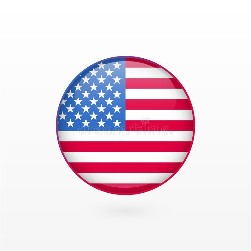Stany Zjednoczone Ameryka flaga, glansowana wektorowa ikona Odosobniona amerykańska odznaka ilustracja wektor