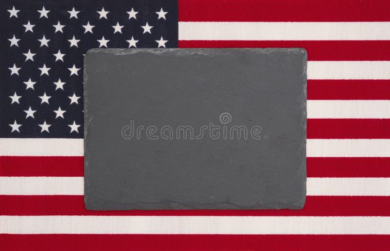 Stany Zjednoczone Ameryka flaga z czarnym chalkboard zdjęcie stock