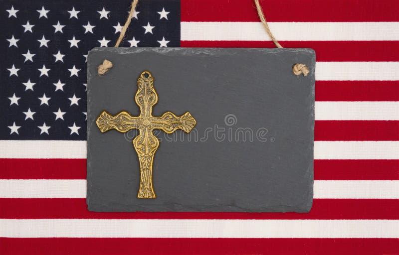 Stany Zjednoczone Ameryka flaga z czarnym chalkboard z cro zdjęcia royalty free