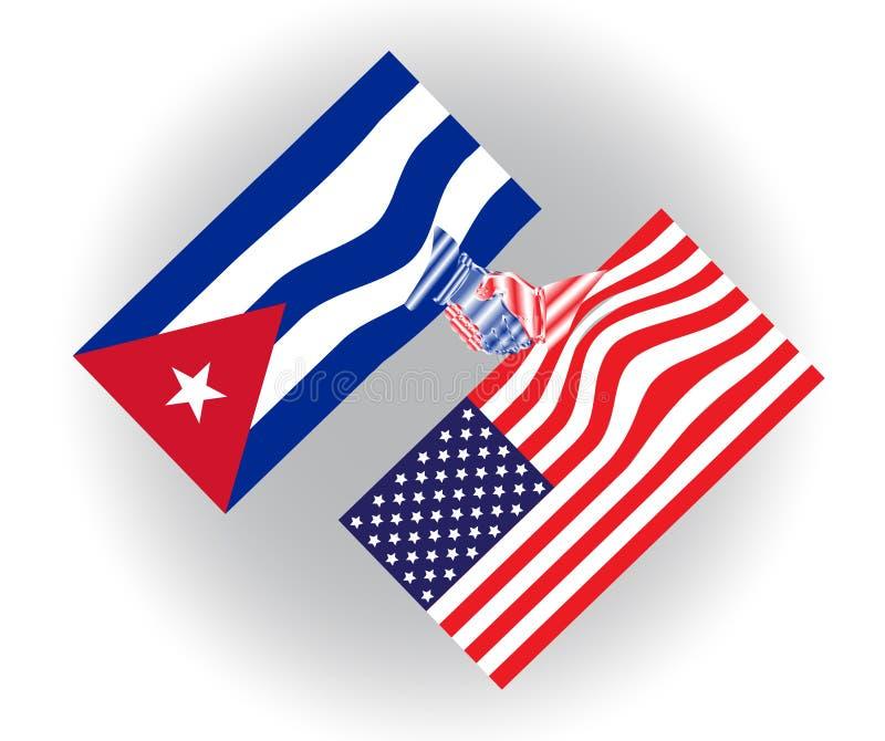 Stany Zjednoczone Ameryka i Kuba zaznacza chwianie ręki, rówieśnik, przyszłości praca zespołowa i współpraca, i ilustracja wektor