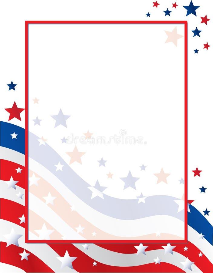 Stany Zjednoczone Ameryka lampasów i gwiazd flaga granicy szablon royalty ilustracja