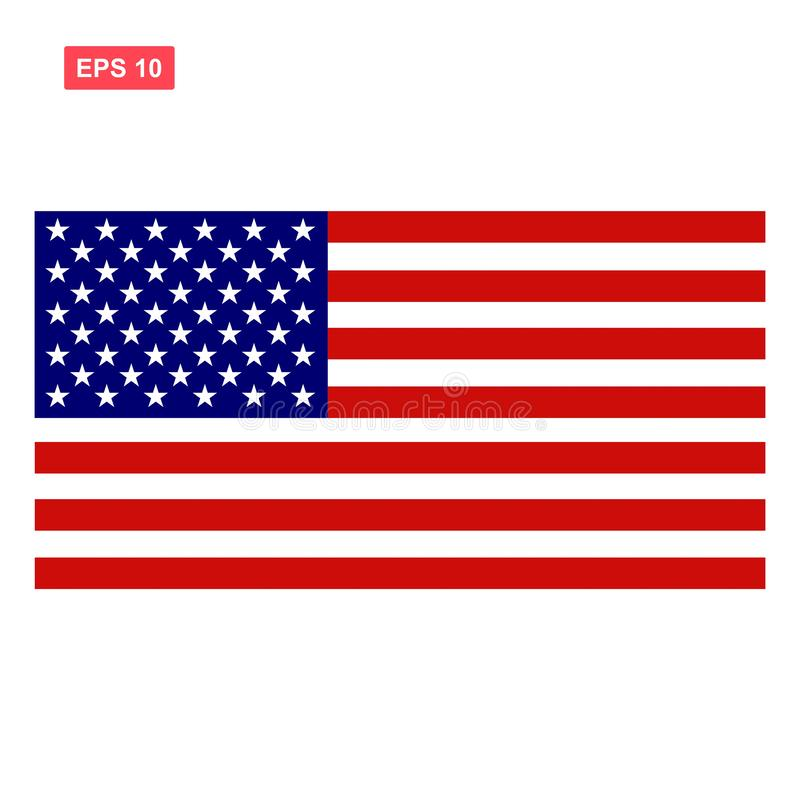 Stany Zjednoczone Ameryka lub flaga amerykańska odizolowywający ilustracji