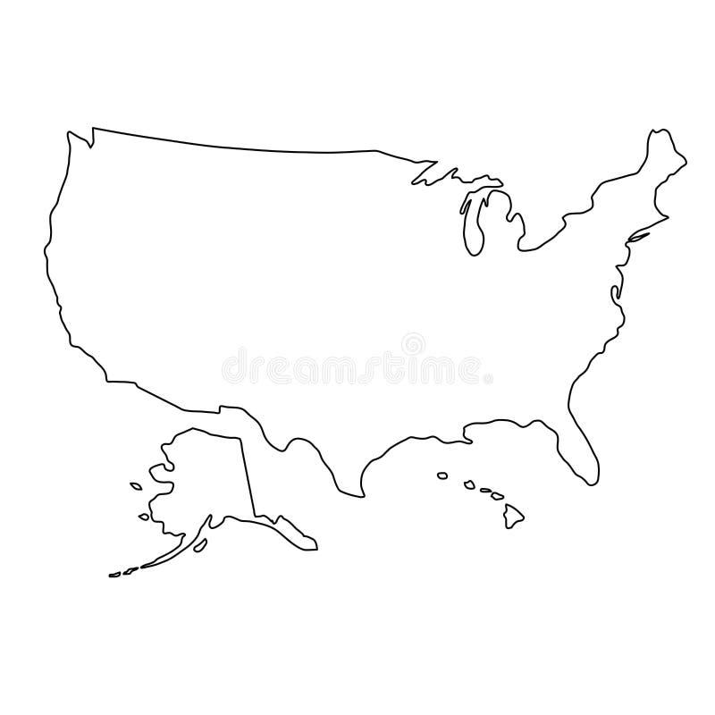Stany Zjednoczone Ameryka mapa czerń kontur wygina się ilustrację ilustracja wektor