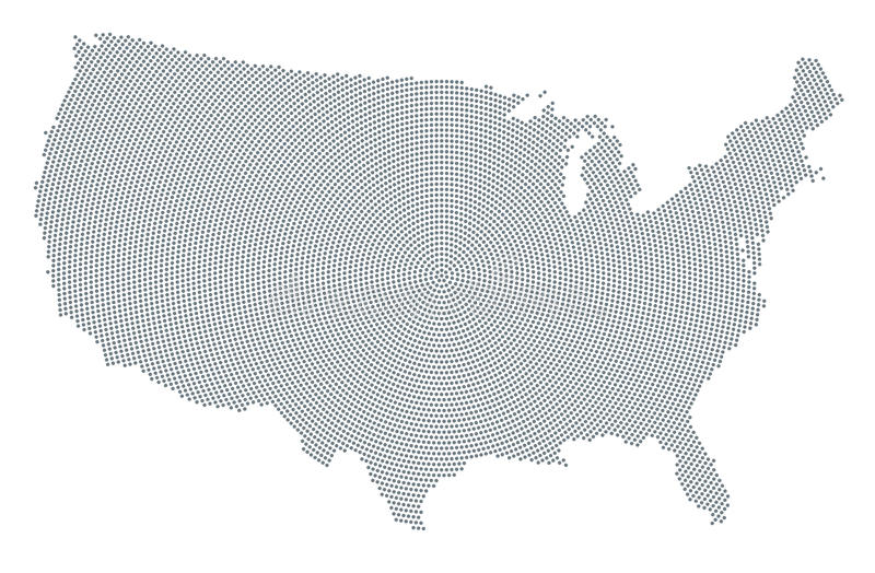 Stany Zjednoczone Ameryka mapy kropki szary promieniowy wzór royalty ilustracja