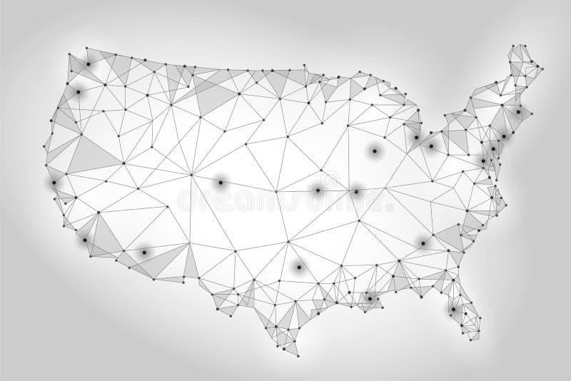 Stany Zjednoczone Ameryka mapy niski poli- styl Związanej kropki siatki drutu punktu komunikacyjnej linii tła biały szary abstrak royalty ilustracja