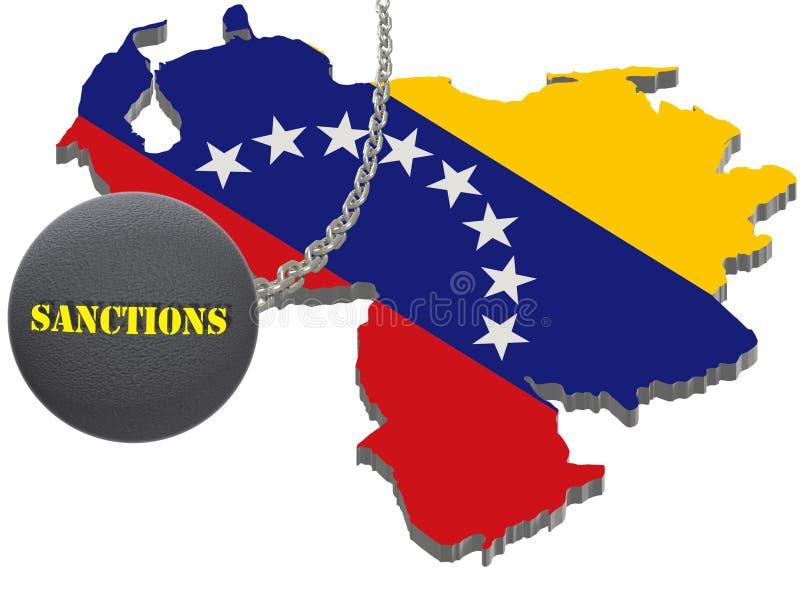 Stany Zjednoczone Ameryka sankcje przeciw Wenezuela, flaga i emblematowi, ilustracja 3 d pojedynczy białe tło ilustracji